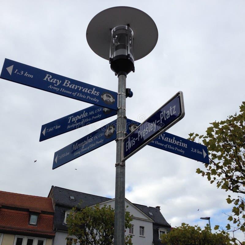 Singnpost d'Elvis Presley Platz photo libre de droits