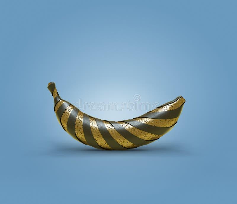Singola banana dell'oro avvolta in bande nere royalty illustrazione gratis