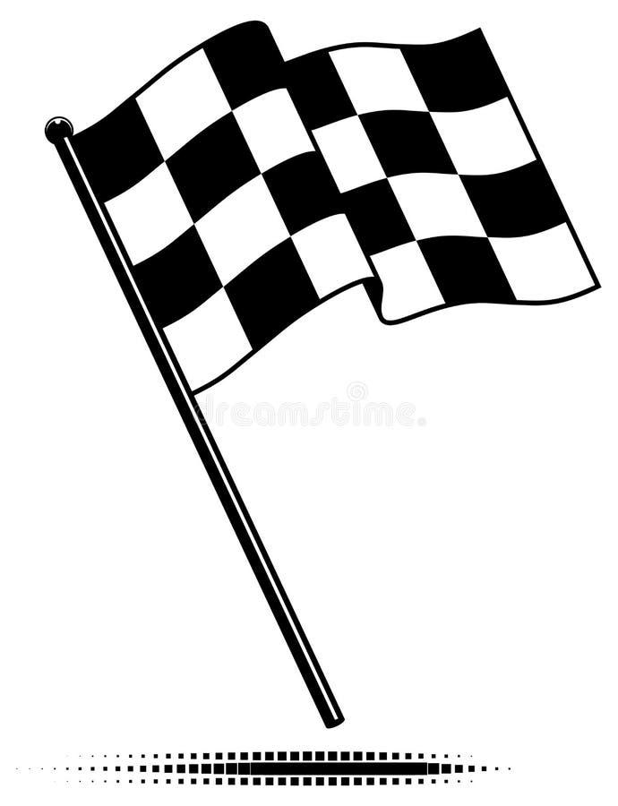 Singola bandierina Checkered (che fluttua sopra) illustrazione vettoriale