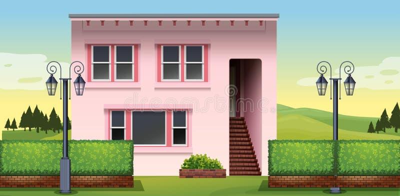 Singola casa con il parco verde illustrazione di stock