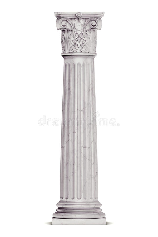 Singola colonna greca isolata su bianco fotografia stock