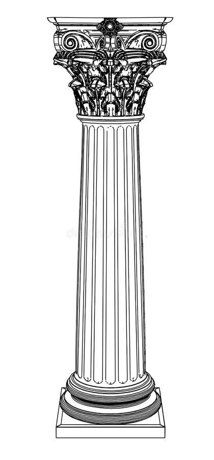 Singola colonna greca isolata su bianco illustrazione vettoriale