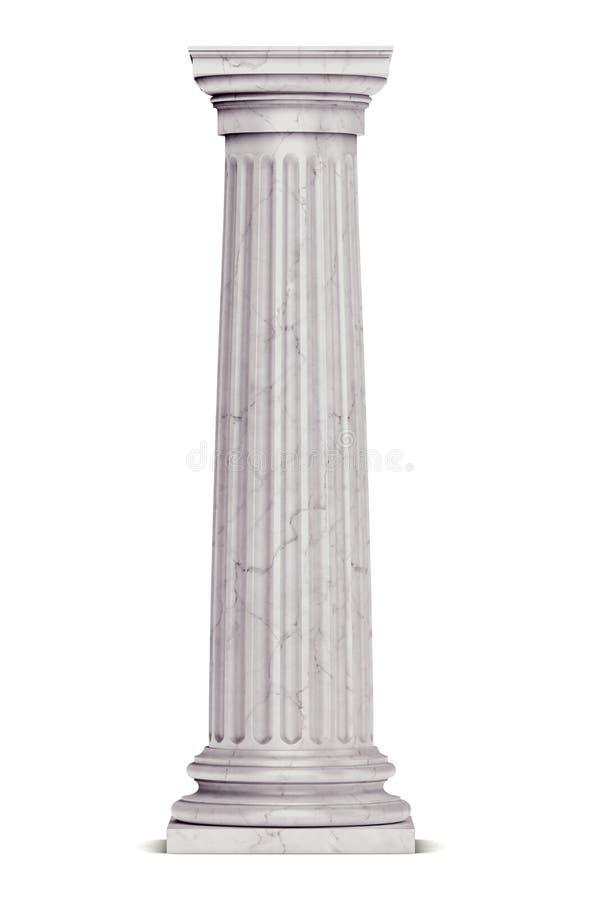 Singola colonna greca isolata su bianco immagini stock