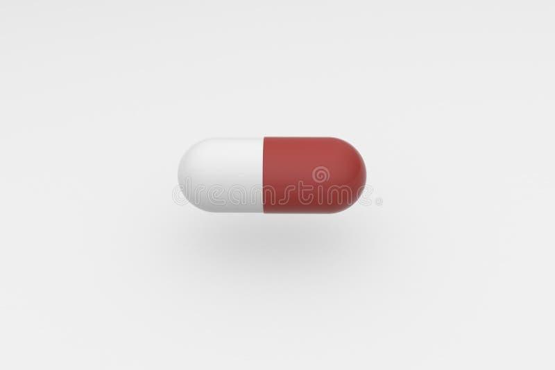 Singola compressa bianca rossa su un fondo bianco Antibiotico nella capsula rappresentazione 3d illustrazione vettoriale