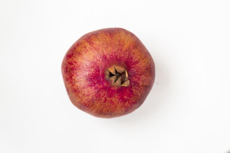 Singola frutta matura del melograno isolata su fondo bianco fotografia stock libera da diritti