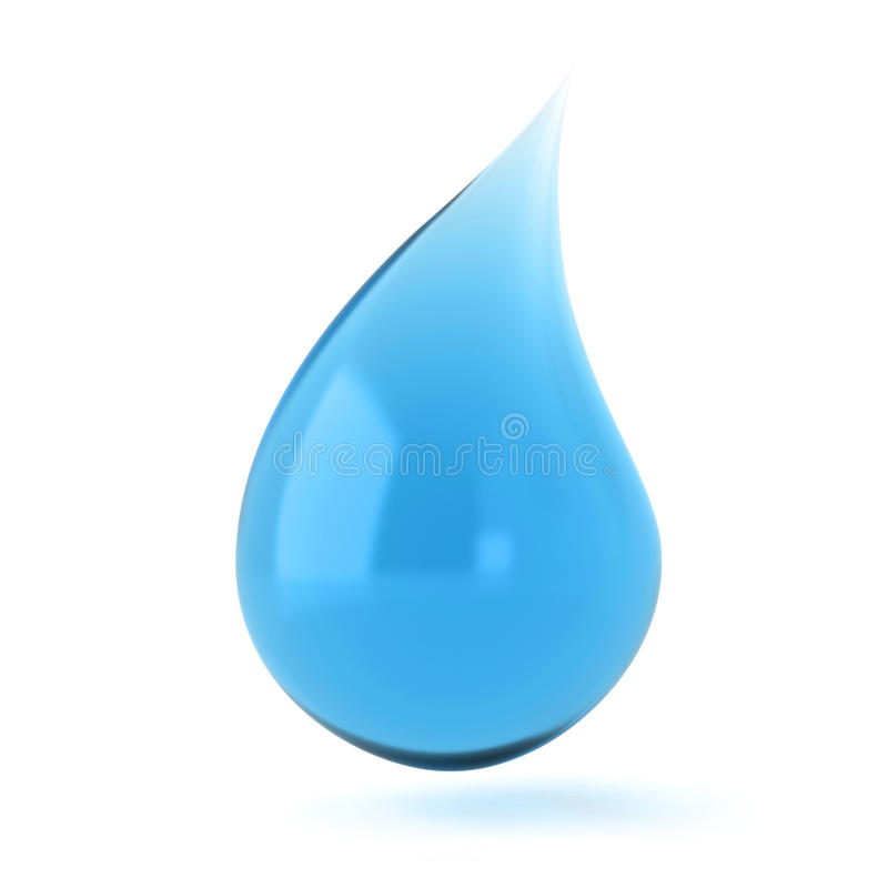 Singola goccia liquida blu 3d illustrazione vettoriale