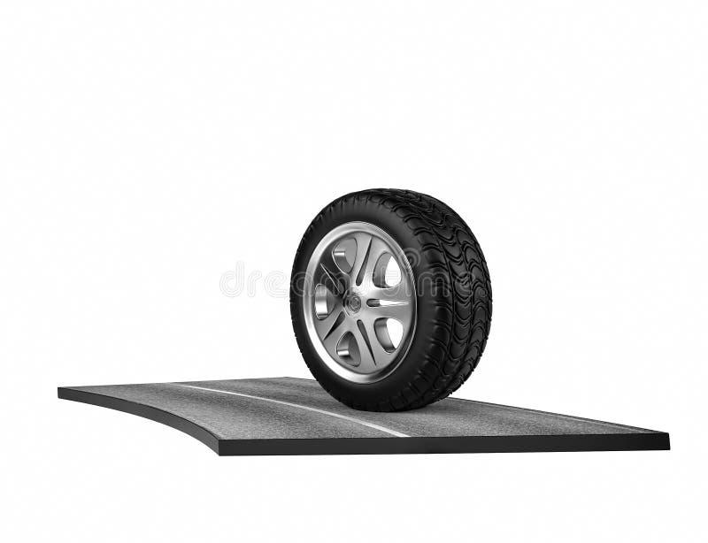 Singola gomma di automobile sull'asfalto Su bianco 3d rendono illustrazione di stock