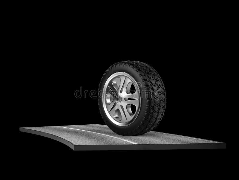 Singola gomma di automobile sull'asfalto sul nero 3d rendono royalty illustrazione gratis
