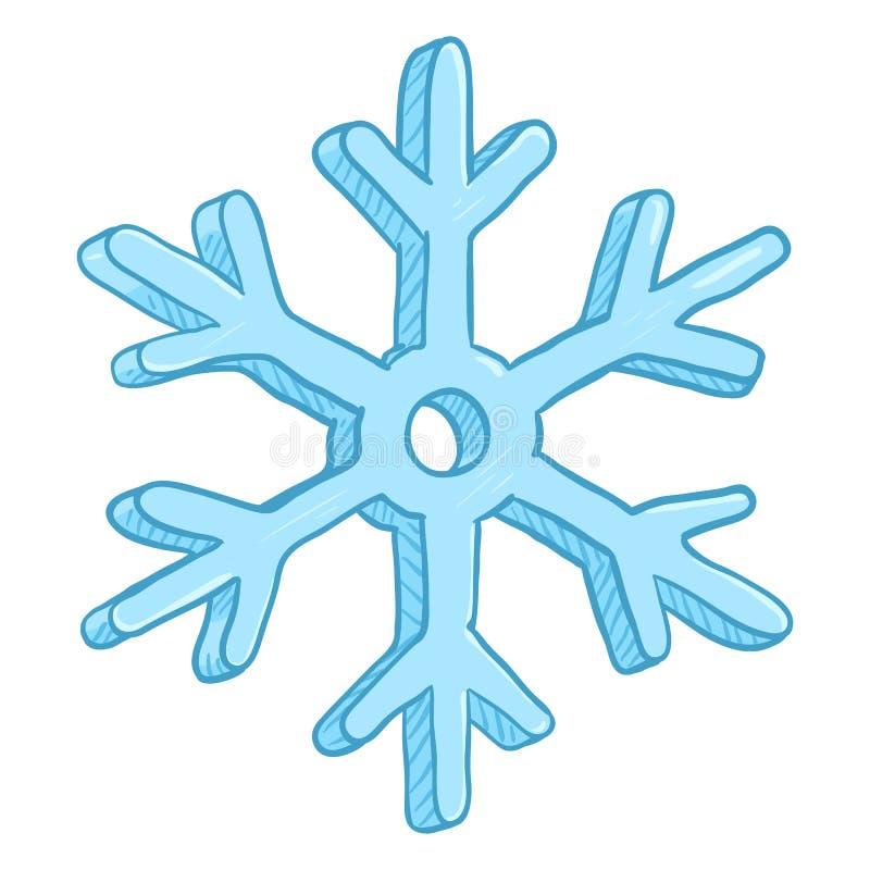 Singola illustrazione del fumetto di vettore - fiocco di neve su fondo bianco illustrazione vettoriale