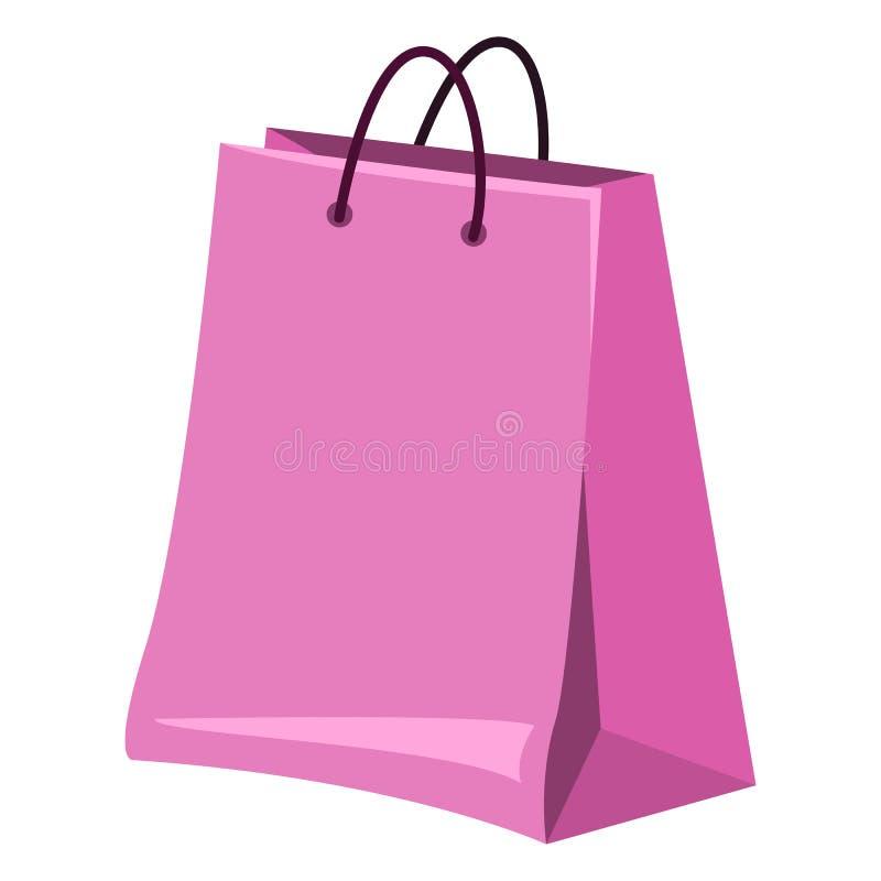 Singola illustrazione di vettore - sacchetto della spesa su fondo bianco illustrazione di stock