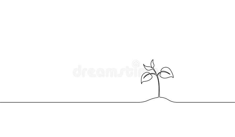 Singola linea continua germoglio crescente di arte Il seme delle foglie della pianta coltiva la progettazione di massima naturale illustrazione di stock