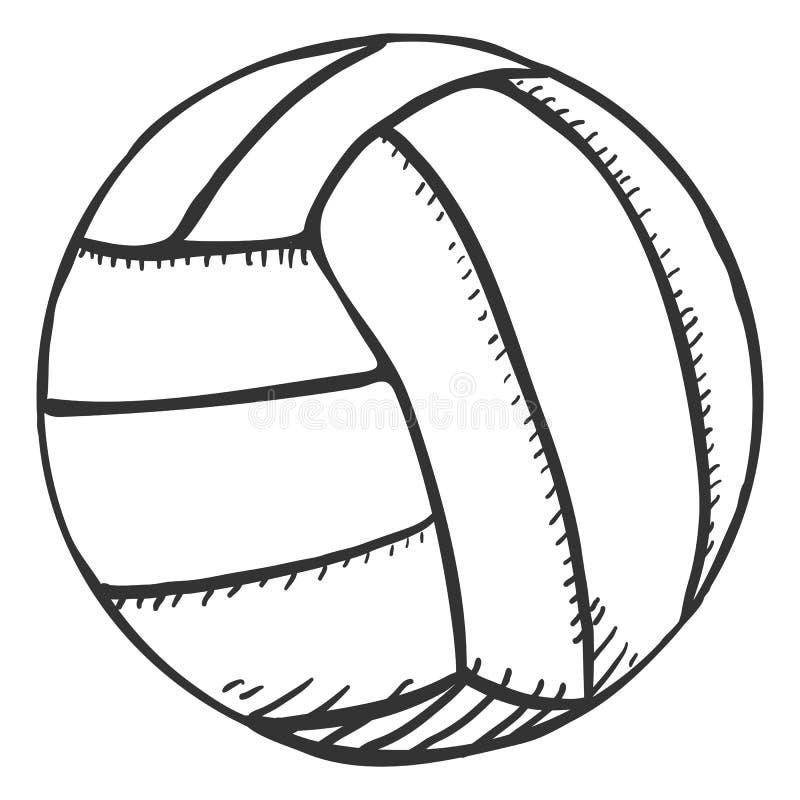 Singola palla di pallavolo di schizzo di vettore illustrazione di stock