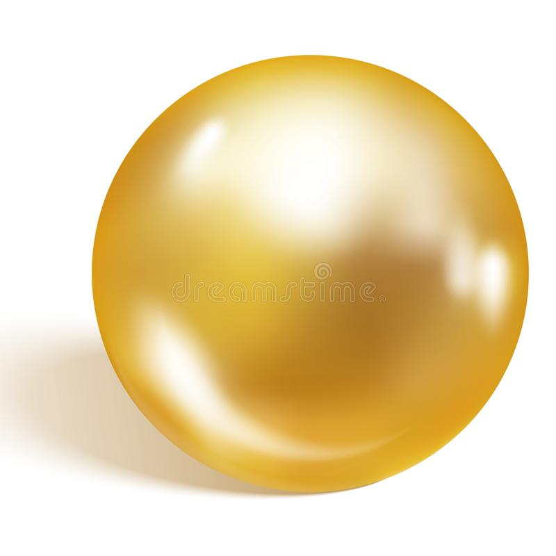 Singola perla dell'oro isolata su fondo bianco Perla dell'oro Illustrazione di vettore royalty illustrazione gratis