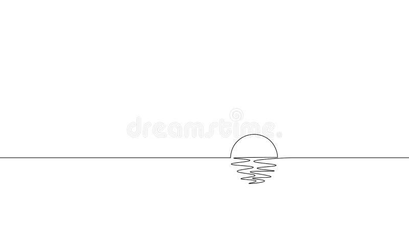 Singola una linea continua vista di oceano soleggiata di arte Concetto di lusso tropicale di tramonto di viaggio di festa di alba illustrazione di stock