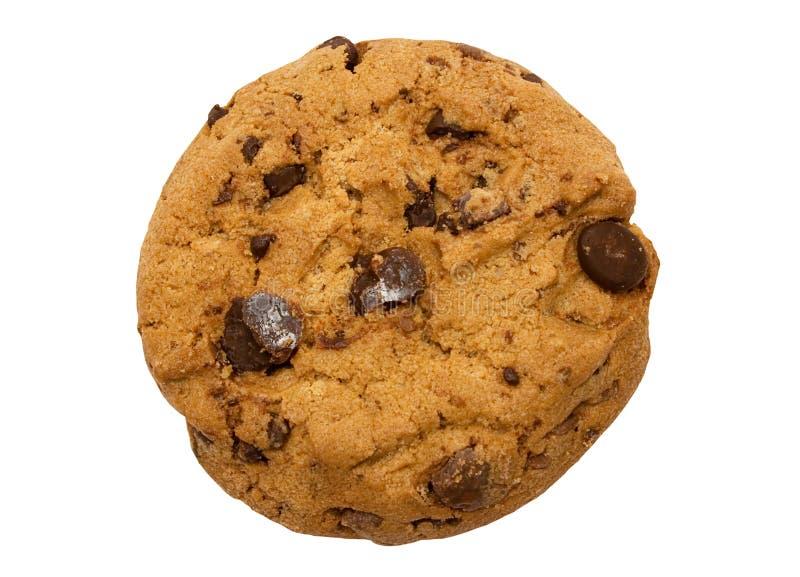 Singolo biscotto di pepita di cioccolato con il percorso fotografia stock libera da diritti