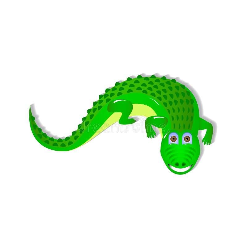 Singolo coccodrillo su fondo bianco illustrazione vettoriale