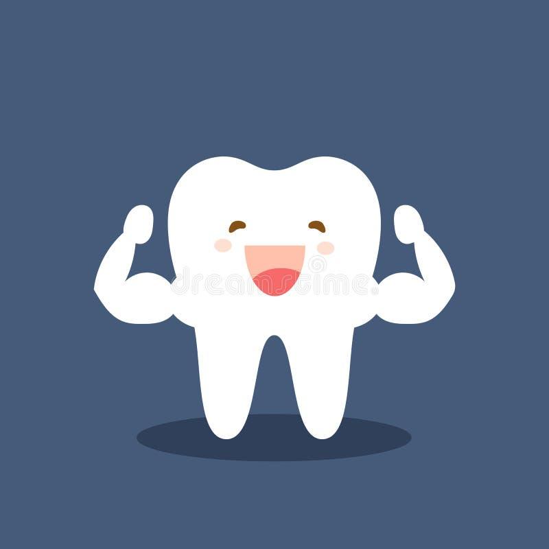Singolo dente sano del muscolo bianco e molto forte Forte carattere bianco sano felice del dente Fumetto piano di vettore illustrazione vettoriale