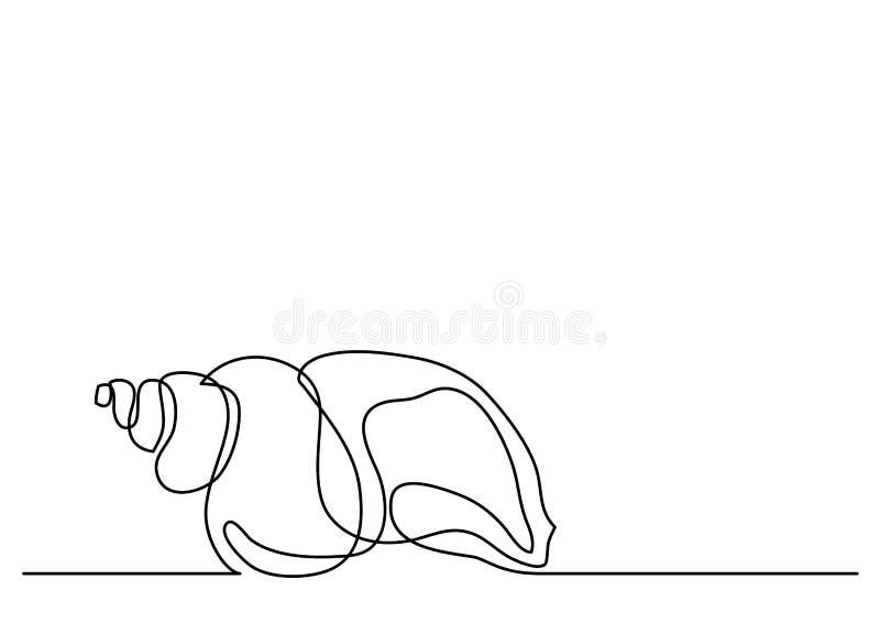 Singolo disegno a tratteggio della conchiglia royalty illustrazione gratis