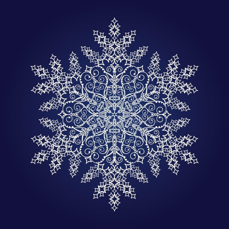 Singolo fiocco di neve dettagliato illustrazione vettoriale