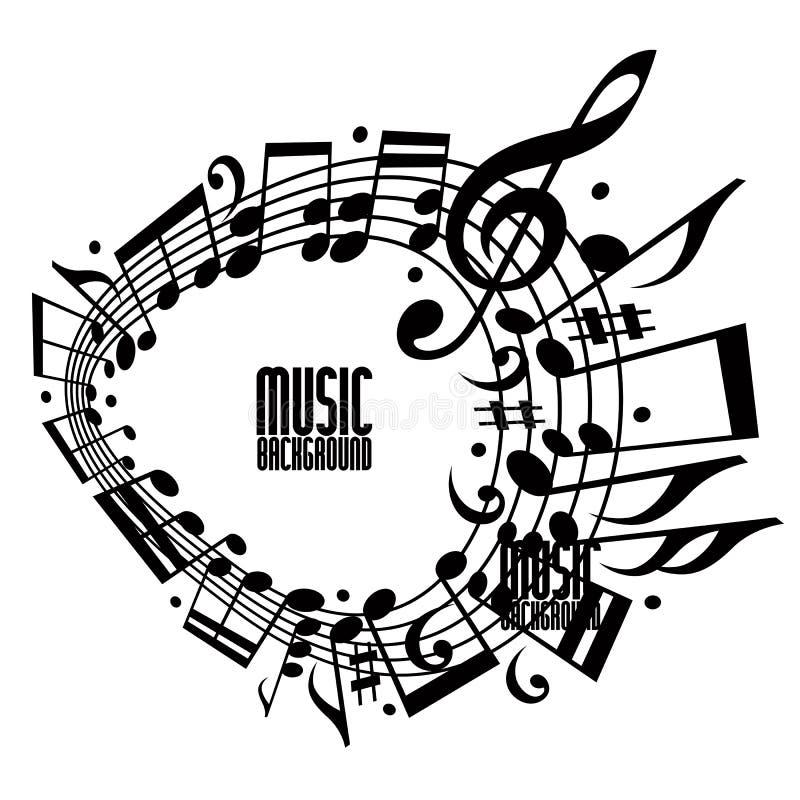 Singolo fondo semplice di musica di colore con le note e la chiave illustrazione di stock