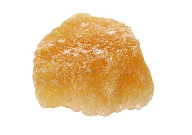 Singolo grande cristallo marrone dello zucchero della roccia fotografie stock libere da diritti