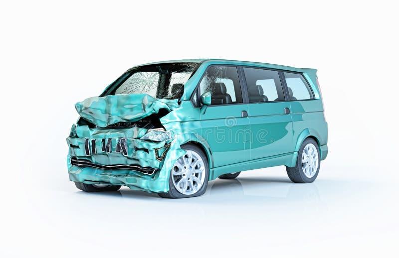 Singolo incidente stradale Furgone verde nocivo molto sulla parte anteriore illustrazione vettoriale