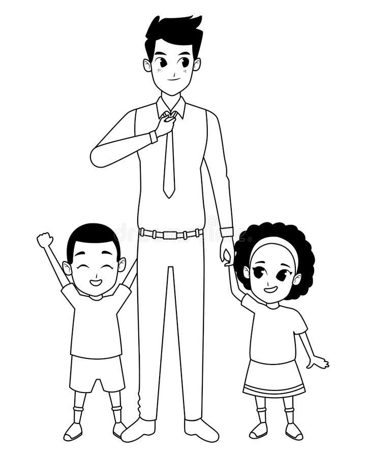 Singolo padre della famiglia con il ragazzo e la ragazza di afro in bianco e nero royalty illustrazione gratis
