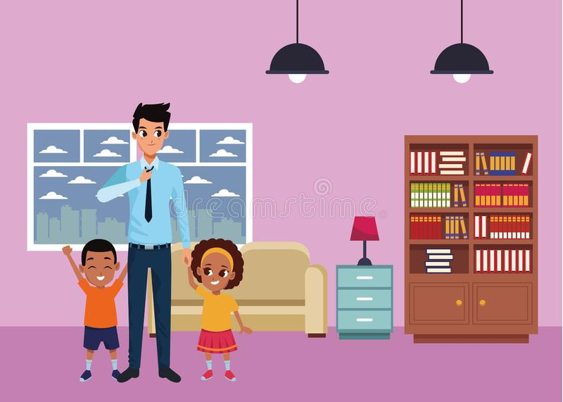 Singolo padre della famiglia con il ragazzo e la ragazza di afro royalty illustrazione gratis