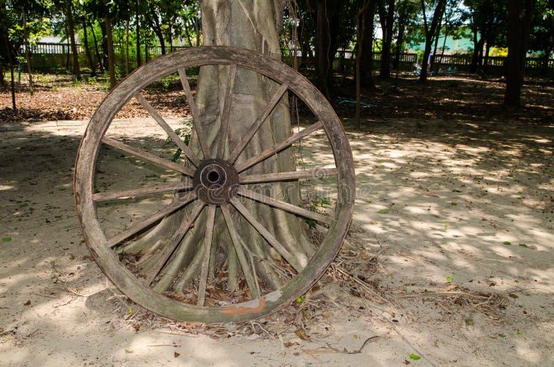 Singolo permesso di legno abbandonato della ruota del carretto con l'albero in un giardino immagini stock libere da diritti
