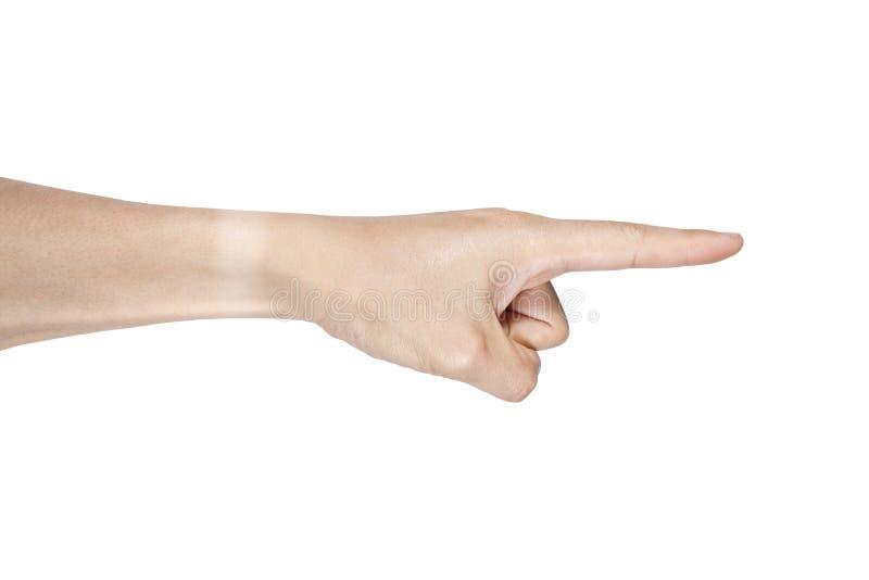 Singolo punto della mano isolato su fondo bianco fotografie stock libere da diritti