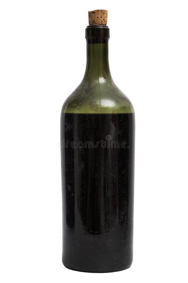 Singolo vecchio bootle brillante classico elegante di vino su fondo isolato fotografia stock libera da diritti