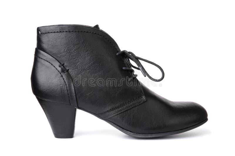 Singolo women& di cuoio nero x27; scarpa di s fotografia stock