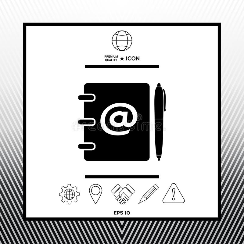 Notebook Address Phone Book With Email Symbol And Pen Icon Stock