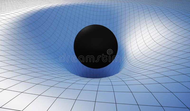 Singularidade do blackhole e do wormhole causados pela gravidade do buraco negro maciço 3D rendeu a ilustração ilustração do vetor