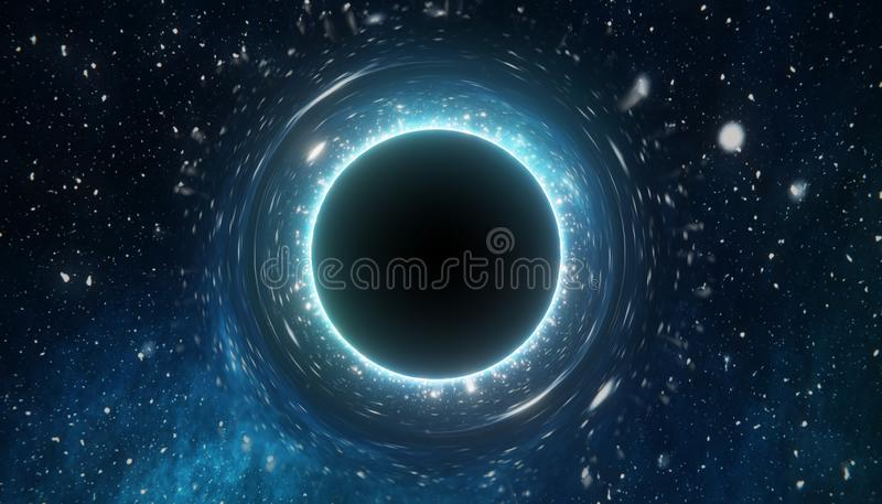 Singularité de trou noir massif 3D a rendu l'illustration illustration de vecteur