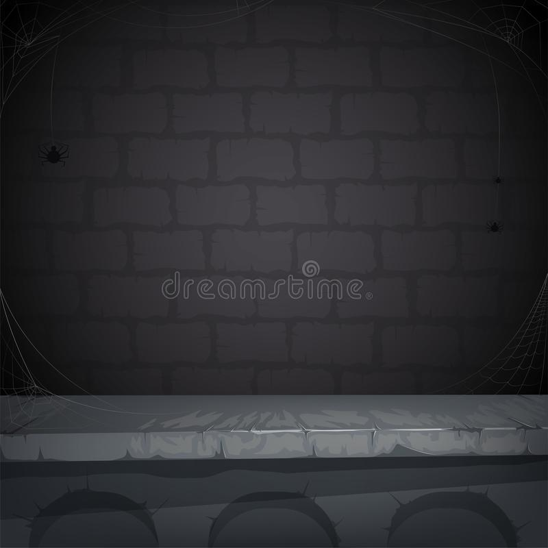Sinister background with a stone wall, cobwebs and spider for Halloween. Vector illustration vector illustration