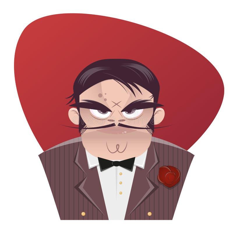 Sinister cartoon mafia boss. Illustration of a sinister cartoon mafia boss stock illustration