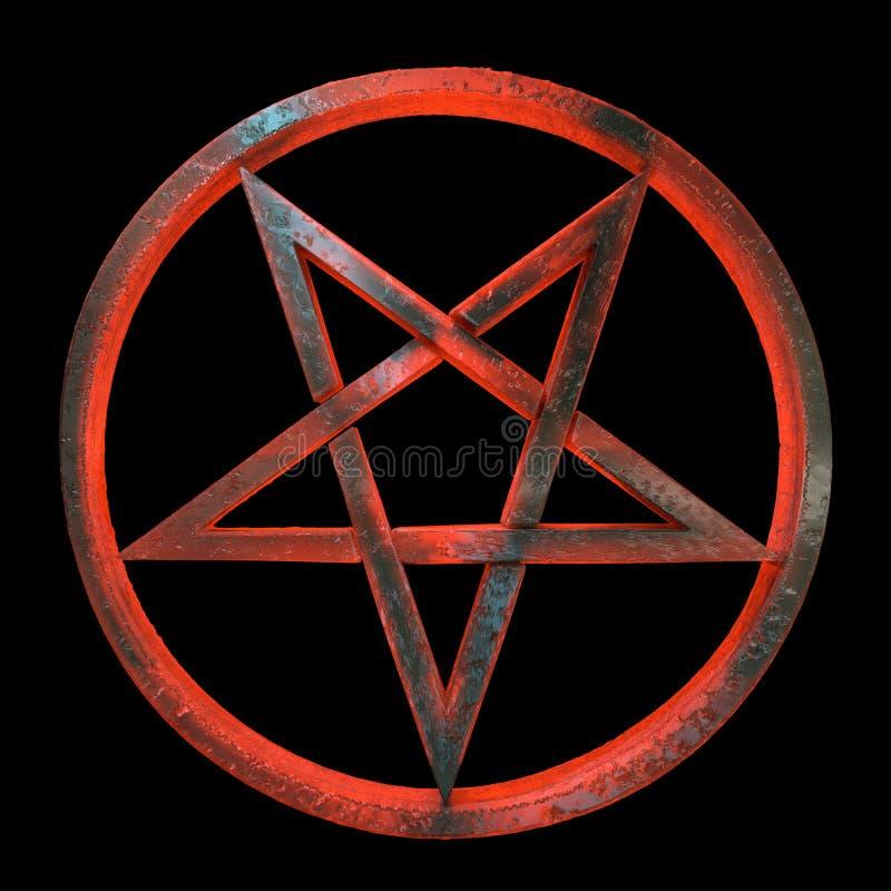 Sinistere omgekeerde geheime pentagram royalty-vrije illustratie