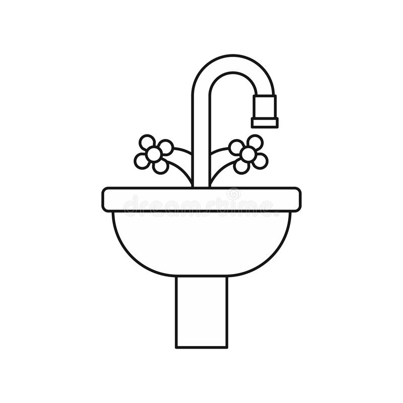 Sink In The Bathroom Icon, Outline Style Stock Vector