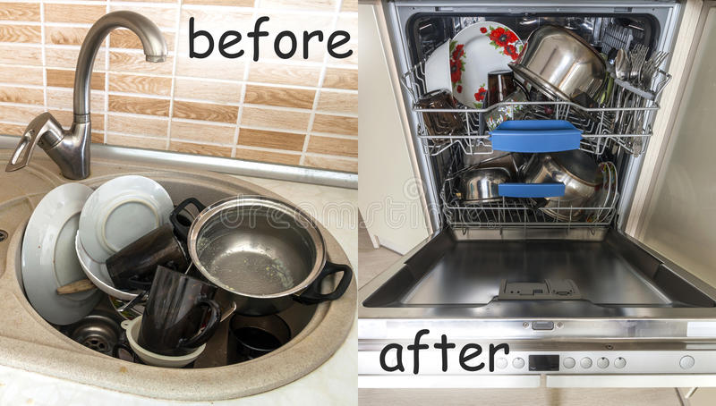 Sink with dirty kitchenware, utensils and dishes. Open dishwasher with clean dishes. Improvement, easy, comfort life and progress. Concept stock photos