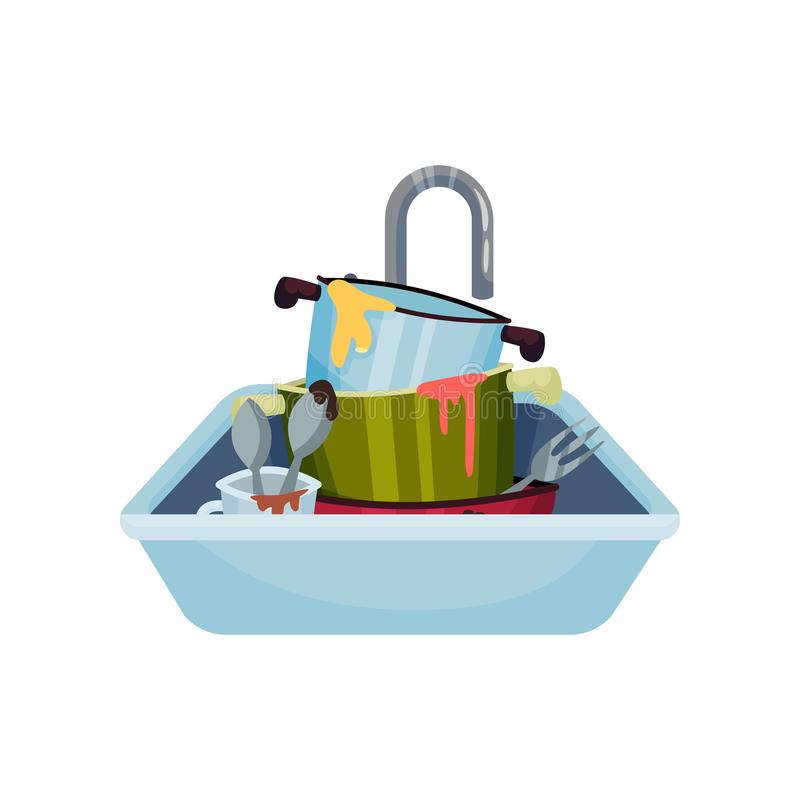 Sink full of dirty dishes. Vector illustration on white background. vector illustration