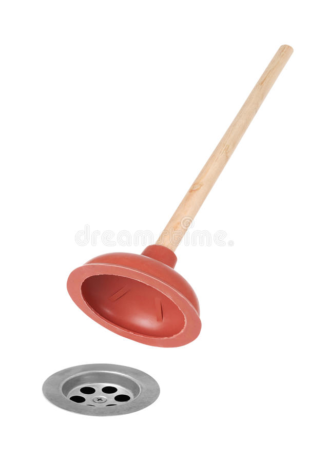 Sink plunger. A sink plunger and plug hole stock images