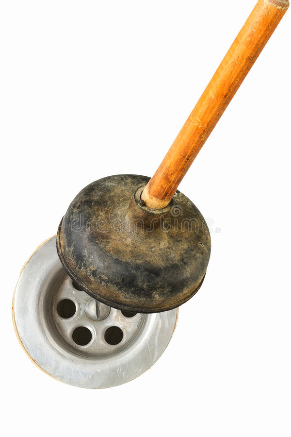 Sink problem. Drain problem is being repaired by plunger royalty free stock photos