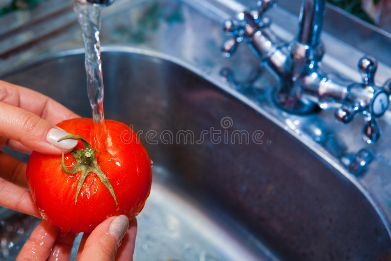 Sink of vegetables in pure water. Sink of vegetables in pure cool water royalty free stock photography