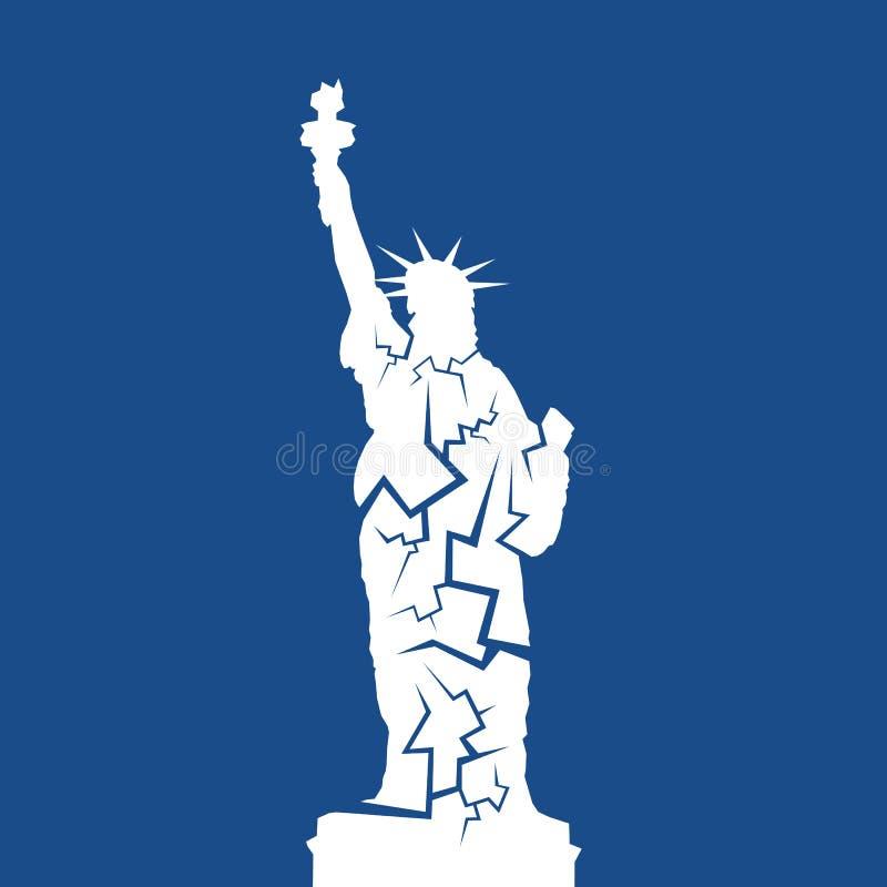 Sinken Sie den Zerfall, Probleme und Ausfall, die zu Einsturz des Marksteins von USA und von Staaten von Amerika führen vektor abbildung