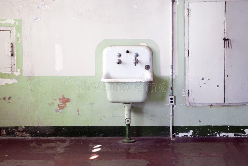 Sinken Sie in Esszimmerhalle in Alcatraz-Insel, Kalifornien stockfoto