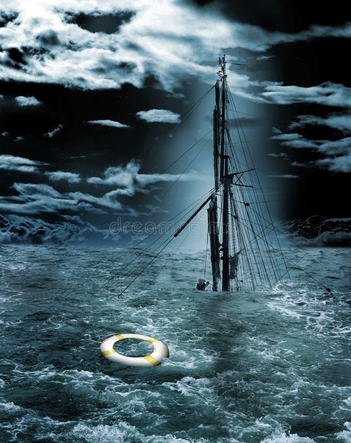 Sinkendes Schiff lizenzfreie abbildung