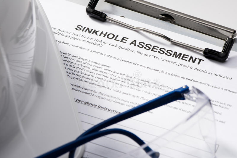 Sinkhole Assessment form on Clipboard royalty free stock photography
