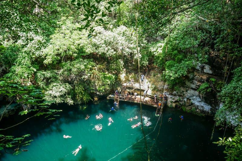 Sinkhole natural em Iucatão fotografia de stock
