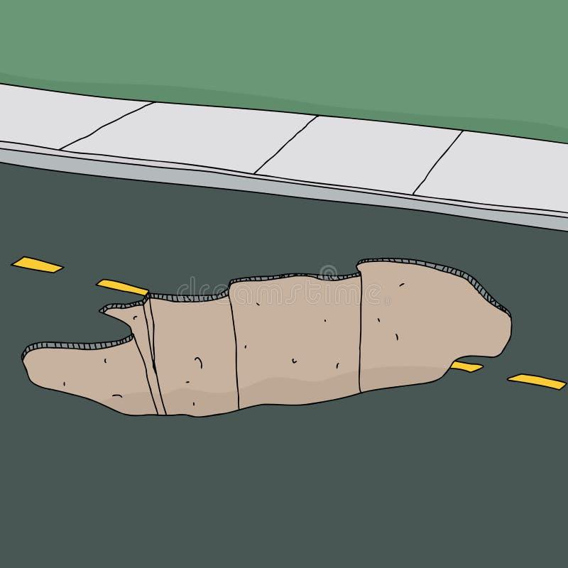 Sinkhole in Road stock illustration